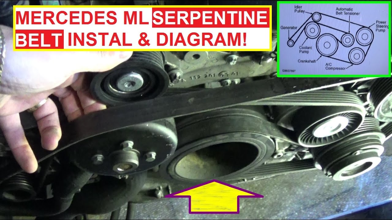 serpentine belt replacement install and belt diagram mercedes w163 ml320 ml430 ml500 ml350 [ 1402 x 786 Pixel ]