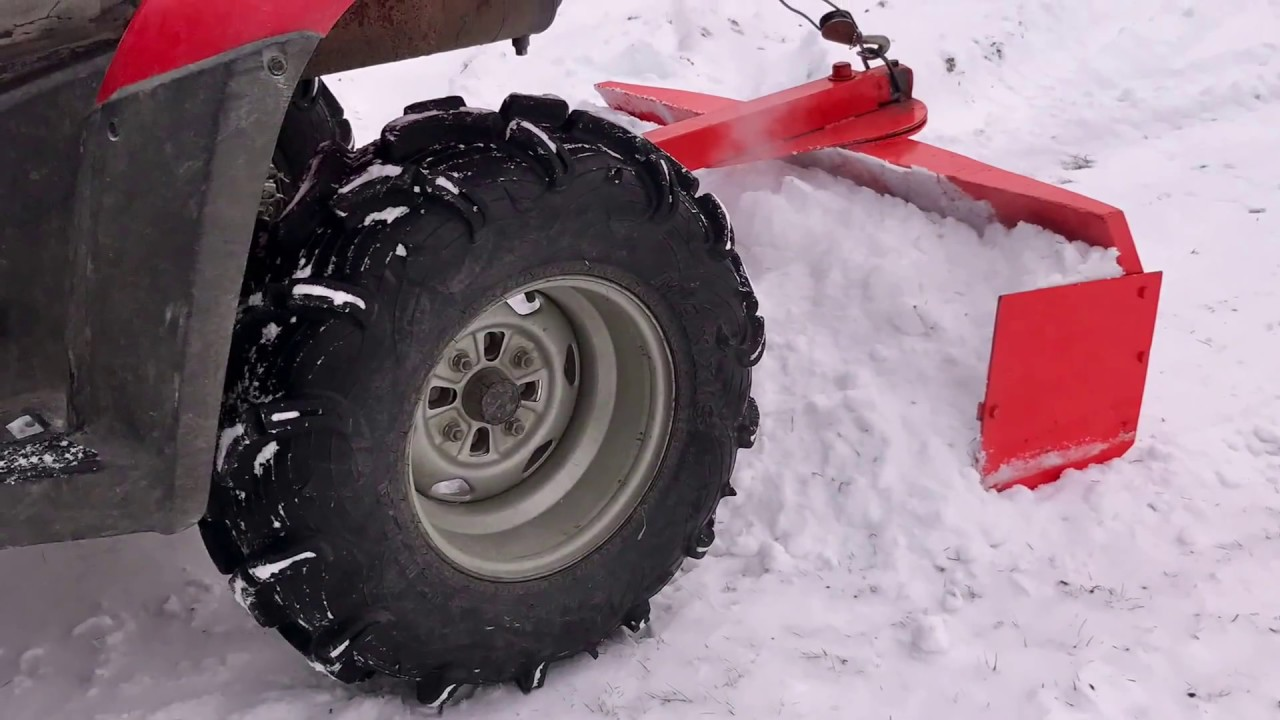 rear plow on honda foreman atv cleaning snow [ 1280 x 720 Pixel ]