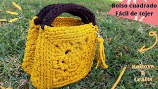 Bolso cuadrado crochet bag granny square - fácil y rápido de tejer