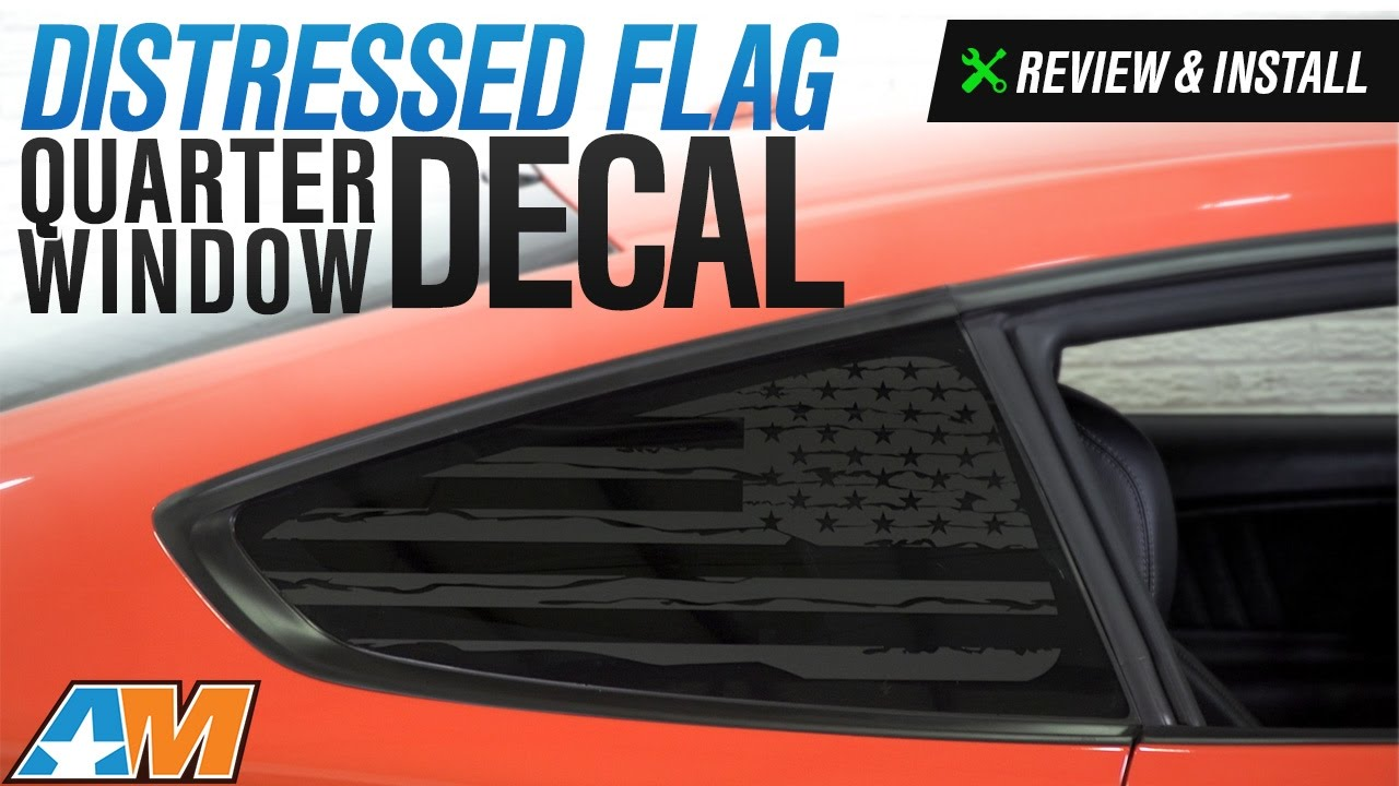 american muscle graphics mustang matte black distressed flag quarter window decals 397323 15 19 fastback  [ 1280 x 720 Pixel ]