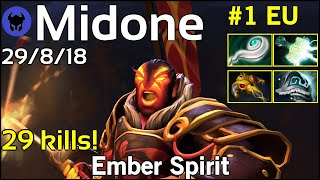 29 kills! Midone [Secret] plays Ember Spirit!!! Dota 2 7.21