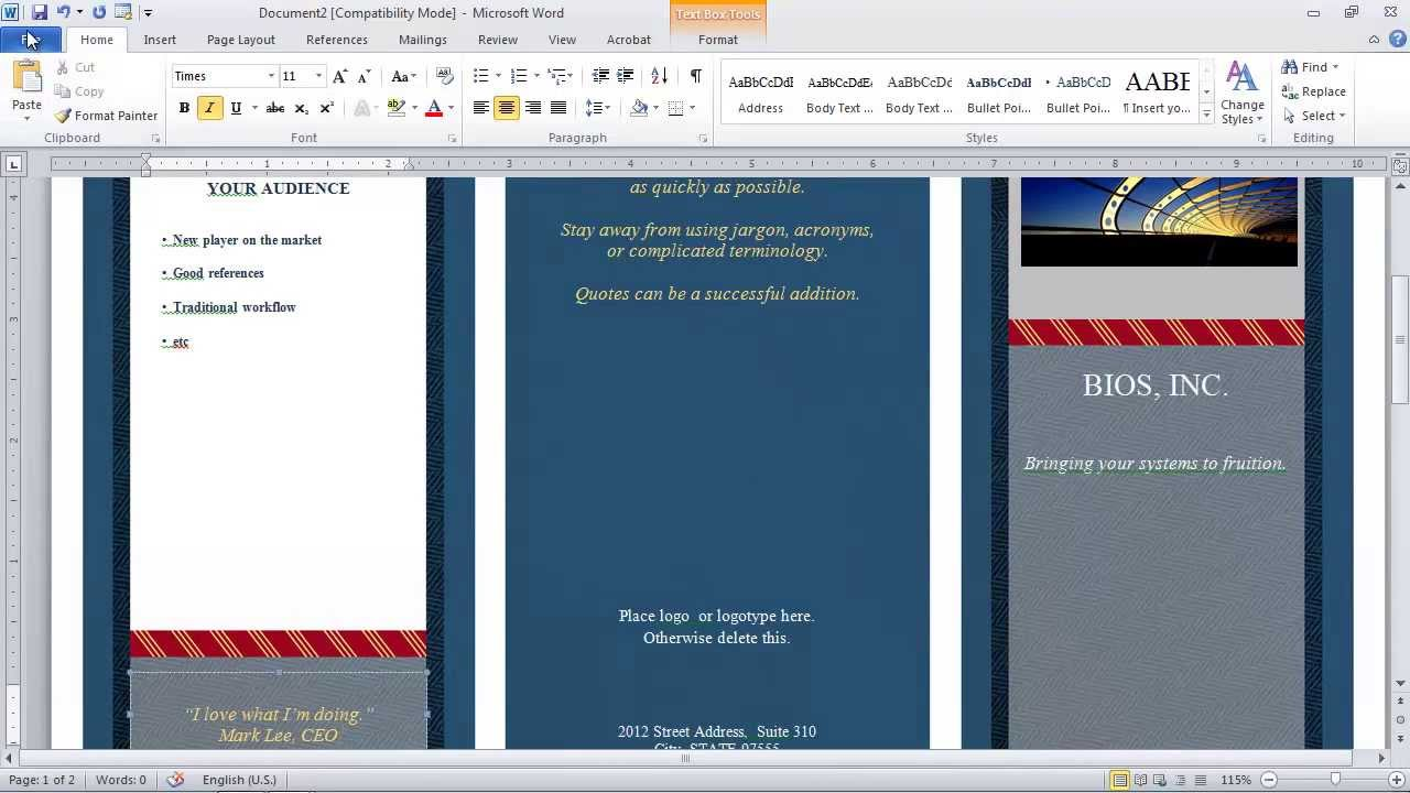 how to make a pamphlet on wordpad.html