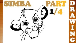How to Draw SIMBA from Lion King   Step by Step Easy for Kids   Young Simba   PART 1/4