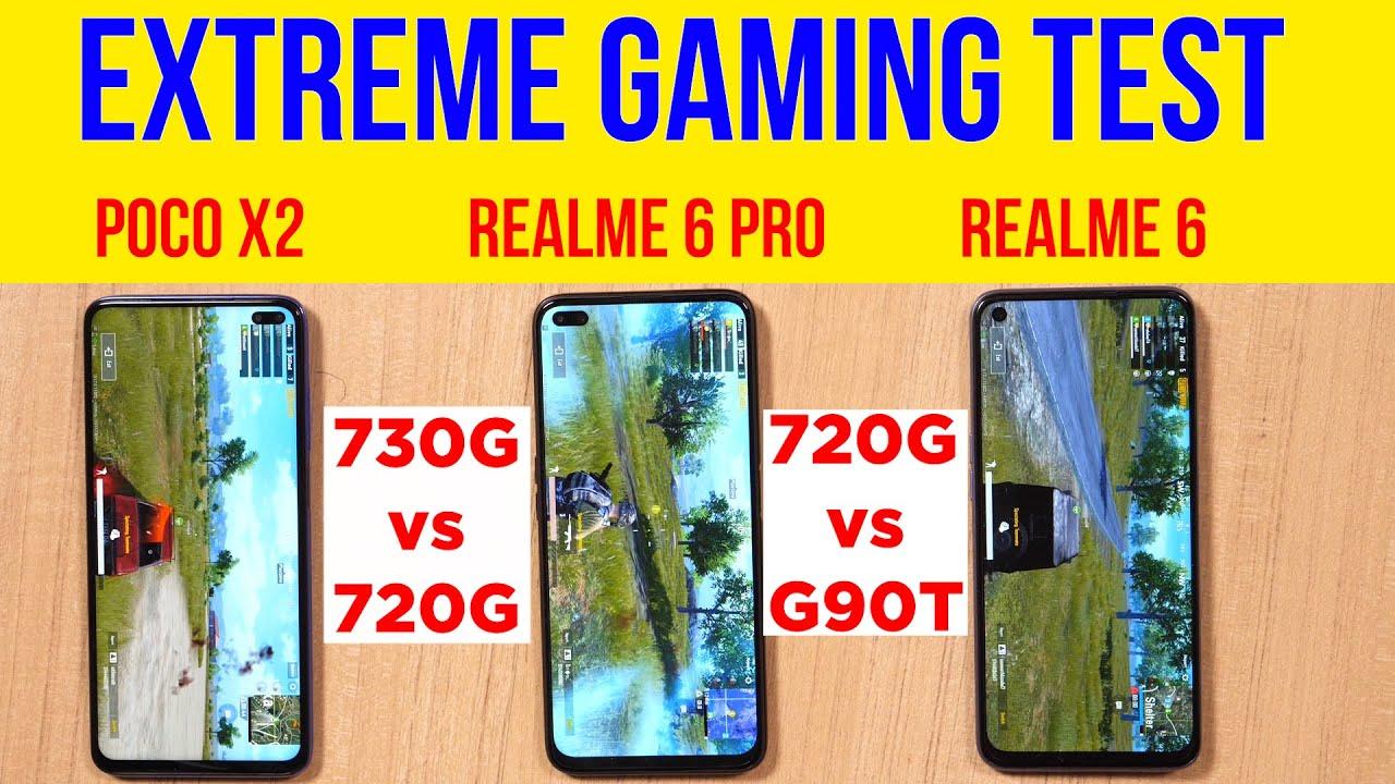 Realme 6, 6 Pro, POCO X2 PUBG Test with GFX Tool | Battery Drain Test | 720G Beaten? [Hindi]