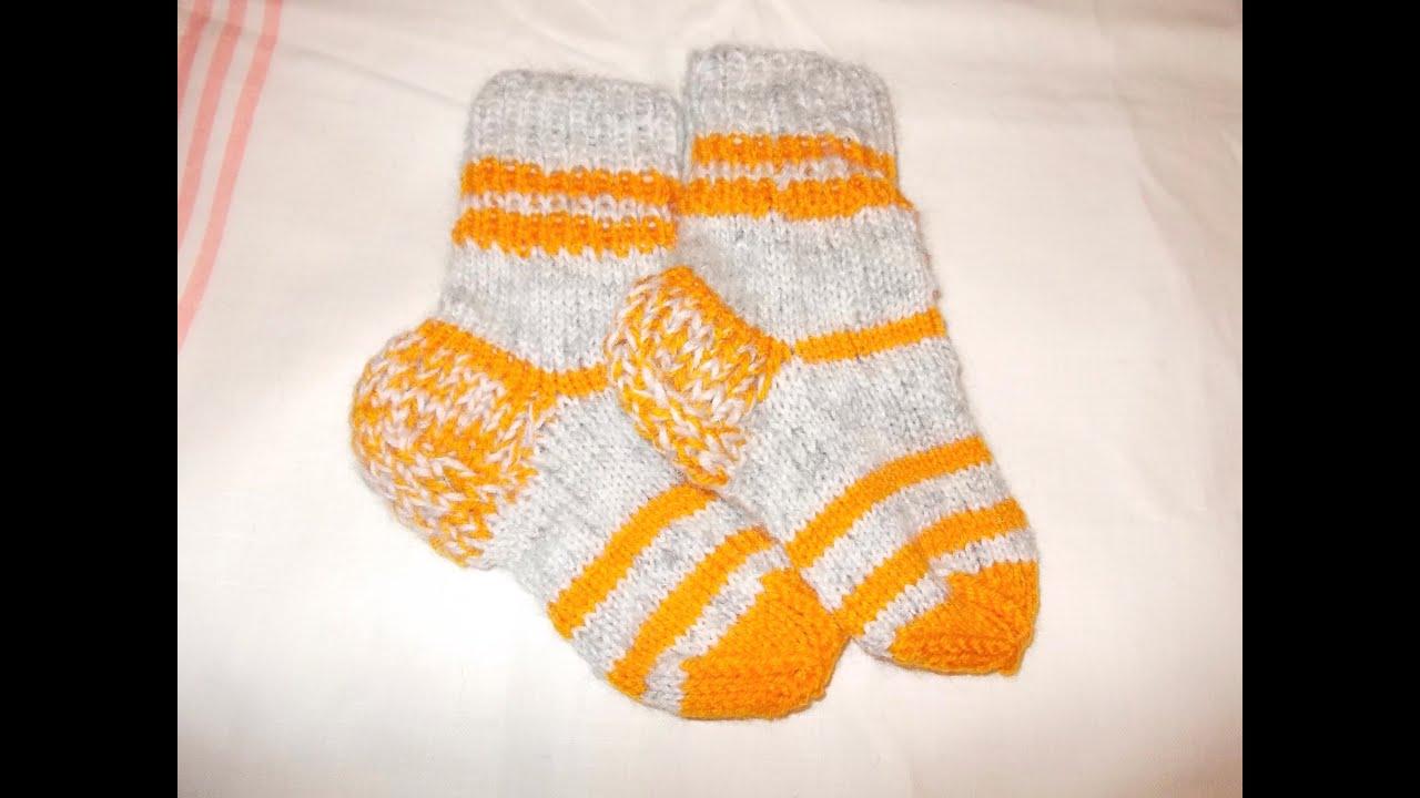 Вязание спицами носки для детей-малышей (детские носочки ...