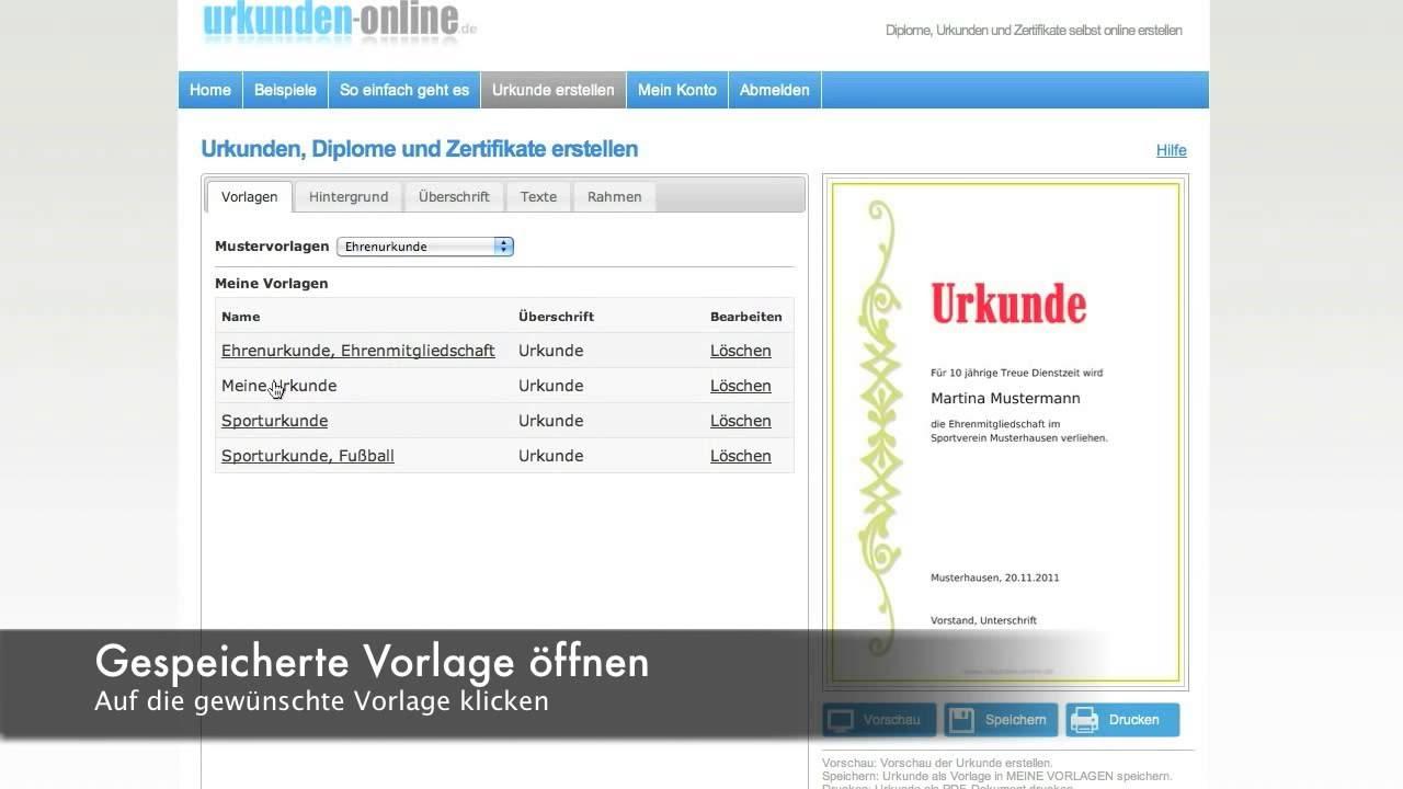Urkunden, Diplome und Zertifikate einfach online erstellen. - YouTube