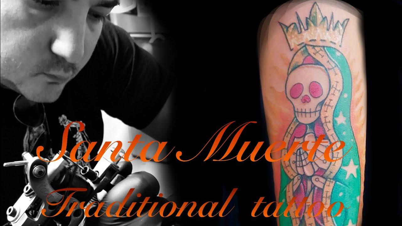 Traditional Santa Muerte tattoo Time lapse vidéo