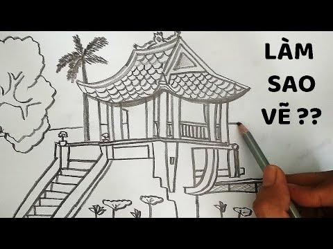 Vẽ Chùa Một Cột bằng bút chì – How to draw One Pillar Pagoda