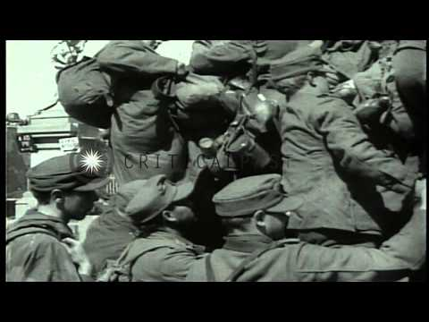 Soldiers of the U.S. 1st Infantry Division during the Battle of Bulge and Germany...HD Stock Footage