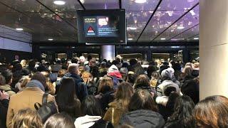 Passengers cram into Paris metro station amid transport strike chaos | AFP