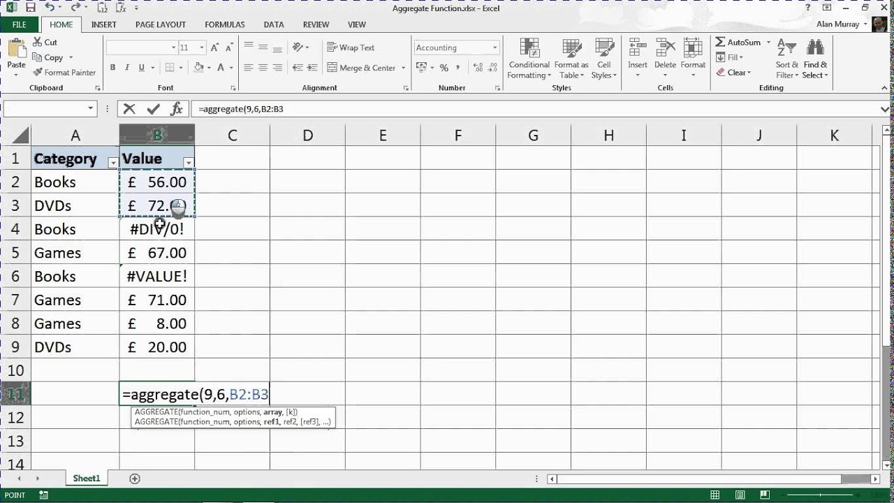 Learn to Use the Aggregate Function in Excel