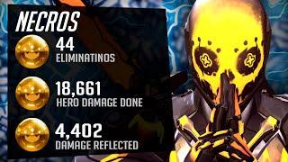 Necros Best Genji iฑ the World - 44 elims! POTG! [ Overwatch Season 30 Top 500 ]