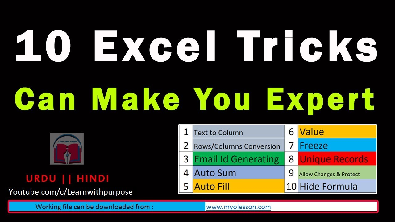 top 10 advanced excel tricks by an expert to make you smart youtube