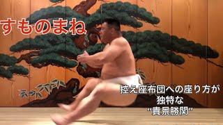 相撲とものまねを融合した【すものまね】 土俵下の控え座布団への座り方...