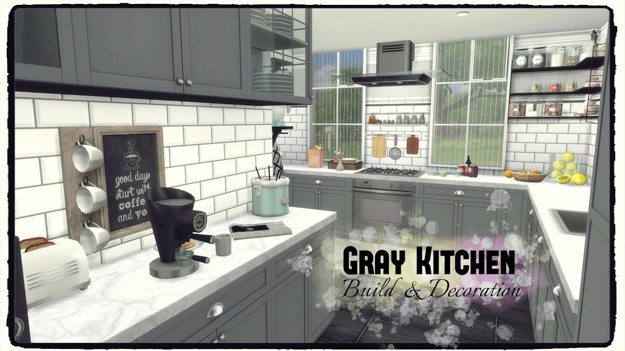 Sims 4 - Gray Kitchen (Build & Decoration) - YouTube