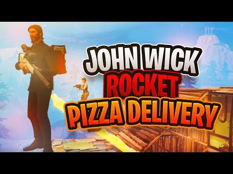 JOHN WICK ROCKET RIDE PIZZA DELIVERY SERVICE! (Fortnite Pizza Wick Gameplay)
