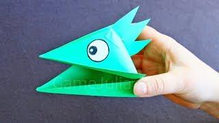 Оригами поделка голова ящерицы(Бумажная поделка — оригами голова ящерицы. Интересное решение для домашнего кукольного театра., 2014-01-19T13:07:18.000Z)