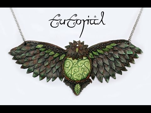 Forest Owl Polymer Clay Statement Fantasy Necklace | Premo Art/Sculpture | DIY Pendant | Velvetorium