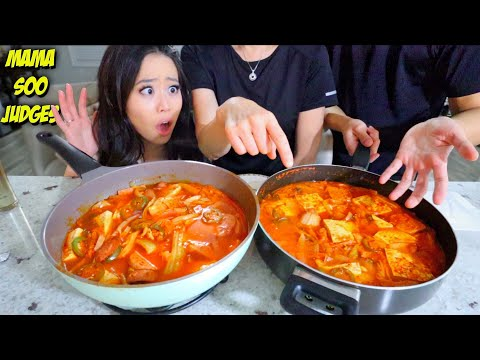 COUPLES COOKING CHALLENGE! Spicy Korean Kimchi Budae Jjigae (Army Based Stew)