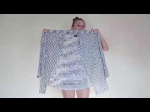 4e866b616acd Πως να φτιάξετε φόρεμα με ένα αντρικό πουκάμισο - YouTube