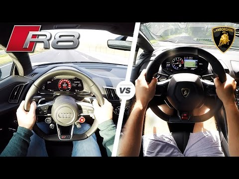 Audi R8 V10 PLUS vs Lamborghini Huracan POV SOUND & REVS by AutoTopNL