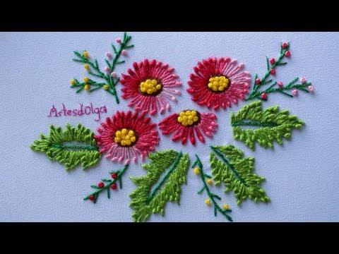 Hand Embroidery: Knotted lazy daisy stitch  Bordados a Mano: Puntada margarita anudada ArtesdOlga