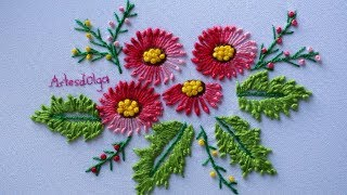 Hand Embroidery: Knotted lazy daisy stitch | Bordados a Mano: Puntada margarita anudada |Artesd'Olga