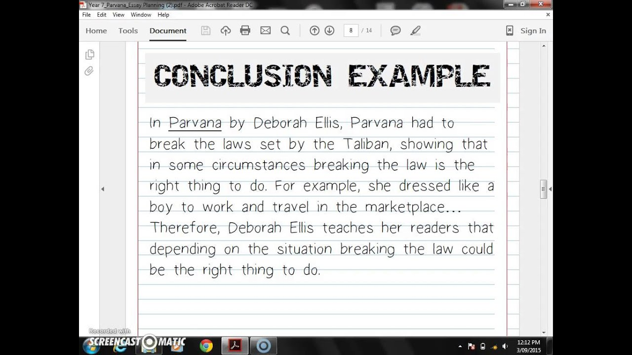 conclusions example for essays