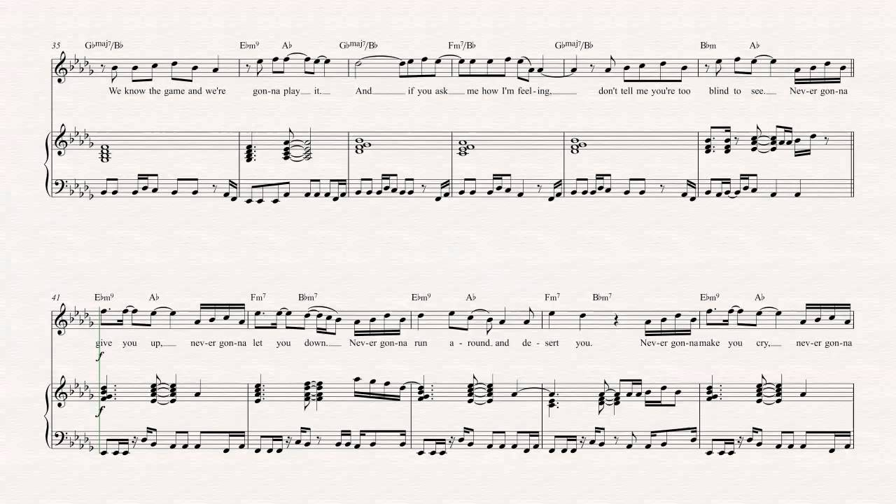 Violin Never Gonna Give You Up Rick Astley Sheet Music Chords Vocals