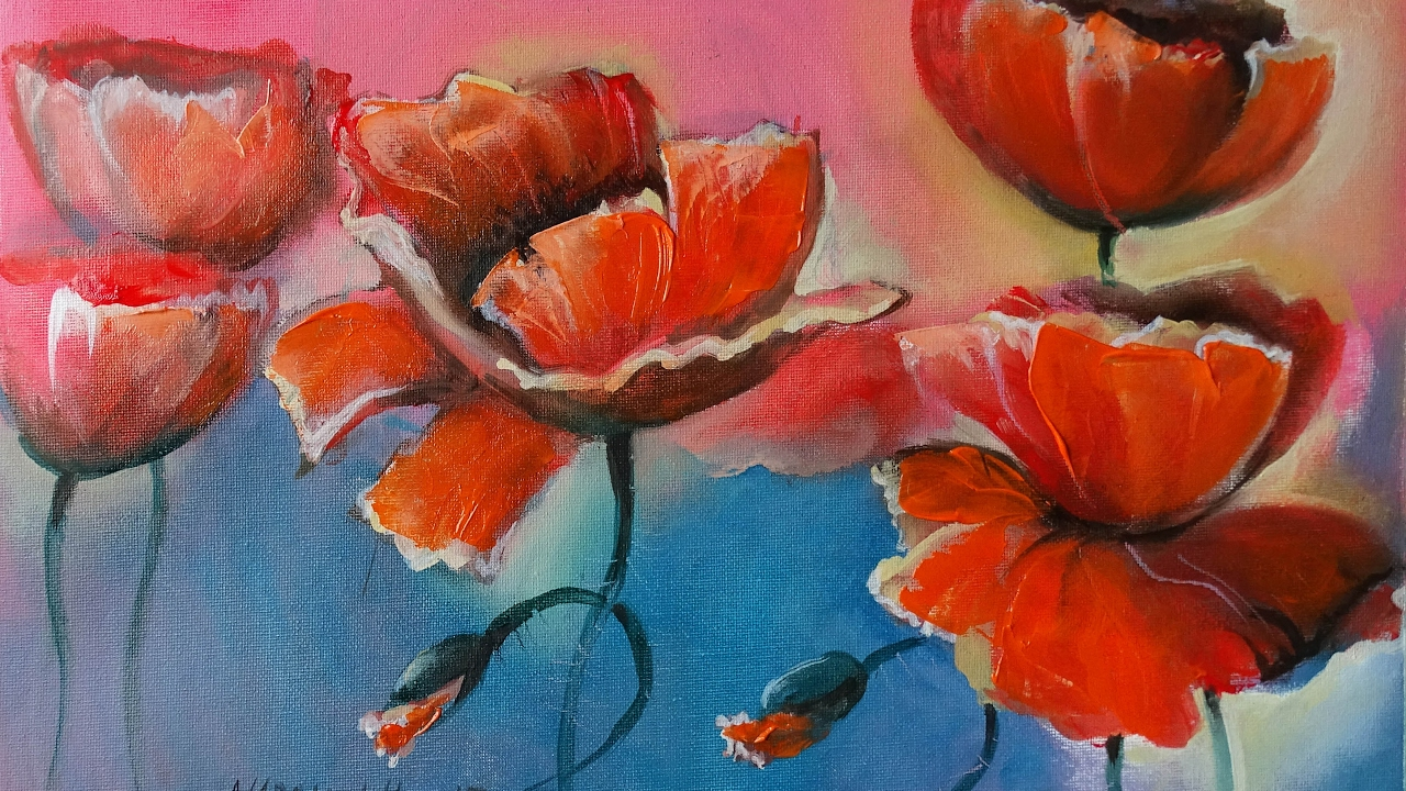 Come disegnare papaveri ad olio how to paint a poppy with for Fiori ad olio