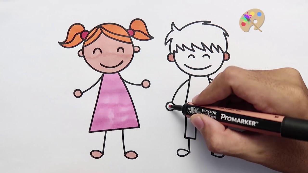 Cara Menggambar Dan Mewarnai Anak Laki Laki Dan Perempuan Youtube