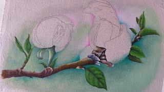 Pintura de magnólia em tecido (parte 1)