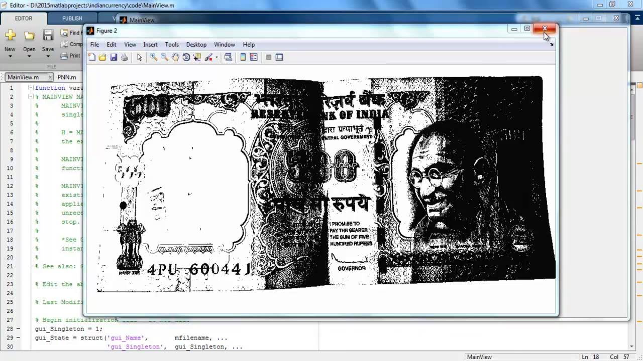 Currency Authentication Image processing matlab projects