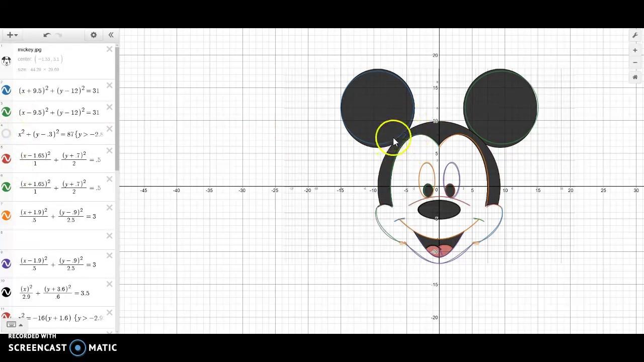 Hon Alg 2 Desmos Conic Project Mickey Mouse