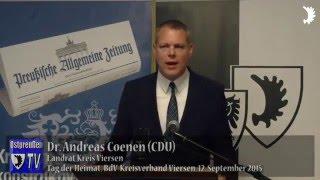 Dr. Andreas Coenen: Vertreibung der Deutschen nicht mit heutiger Flüchtlingswelle gleichzusetzen