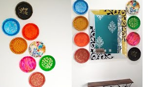 Wall decor ideas with Thermocol plates / DIY wall hanging idea with disposable plates