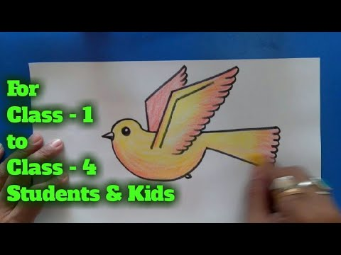 Draw A Flying Bird With Crayons Colors Art For Class 1 Art For Class 2 To Art For Class 4 Youtube