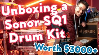 Unboxing a EPIC Sonor SQ1 Drum Kit in Hot Rod Red || $3000 Professional Setup