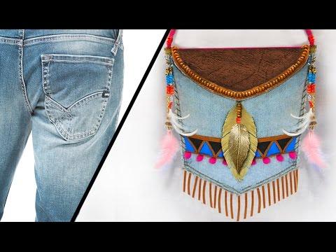 Bolso tnico con jeans reciclado youtube for Ideas en cinco minutos