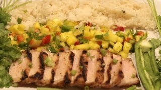 Jerk Pork Chop With Coconut Lime Rice And Mango Salsa