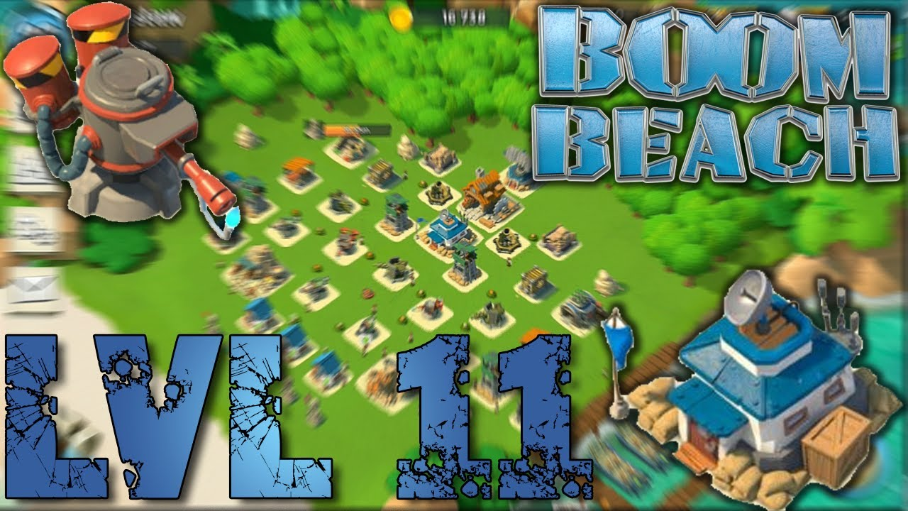 boom beach headquarters level 11 defense strategy - youtube