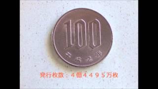 昭和42年から平成27年までの100円硬貨(発行枚数データ付)Japanese Coin 100YEN
