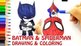 How to Draw Cute Spiderman and Batman. Coloring Pages for Kids