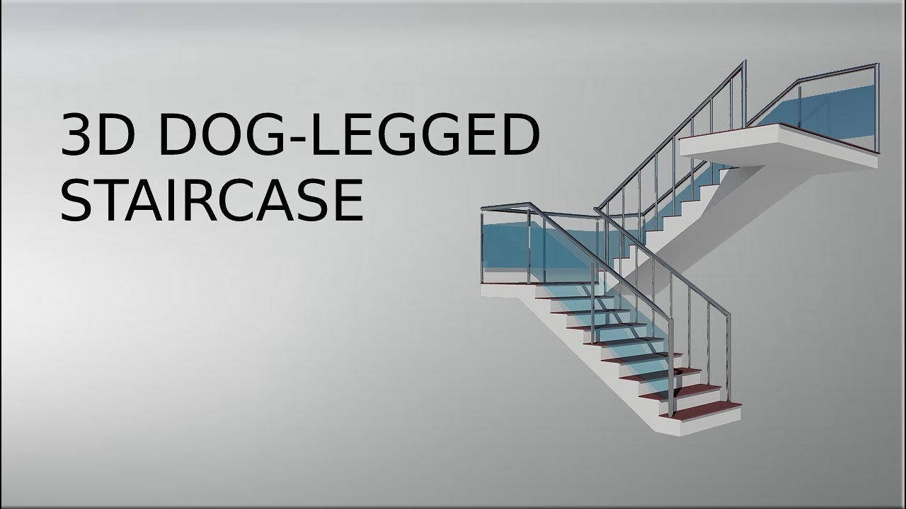 3d Dog Legged Staircase In Autocad Youtube