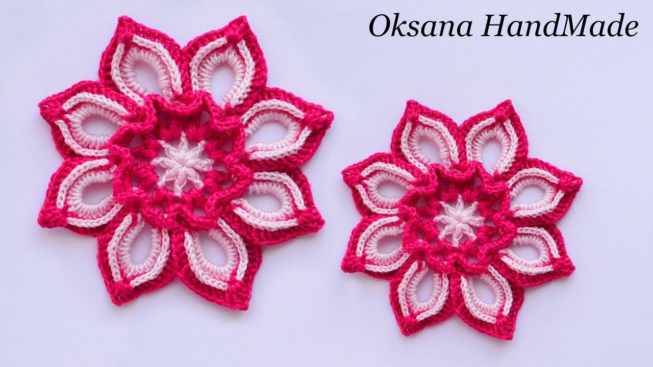 цветок крючком мастер класссхема Flower Crochet Youtube