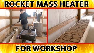 rocket mass heater in a shop - less emphasis on mass and more emphasis on fast heat