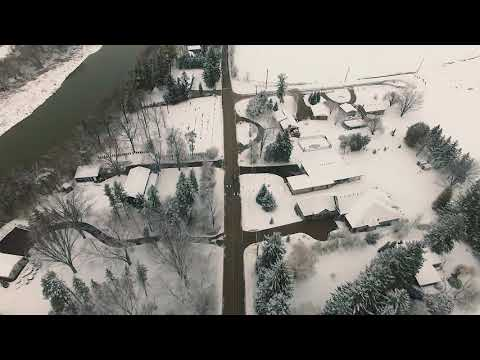 Winter drive in Kitchener viewed from a drone.