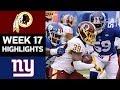 Redskins vs. Giants | NFL Week 17 Game Highlights