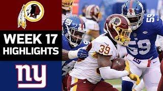 Redskins vs. Giants   NFL Week 17 Game Highlights