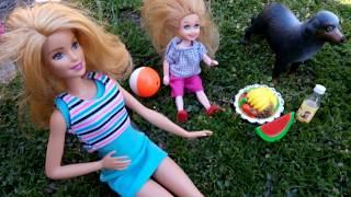 Беременная собака Игрушка. Куклы Барби и Кен на пикнике. Куклы ЛОЛ